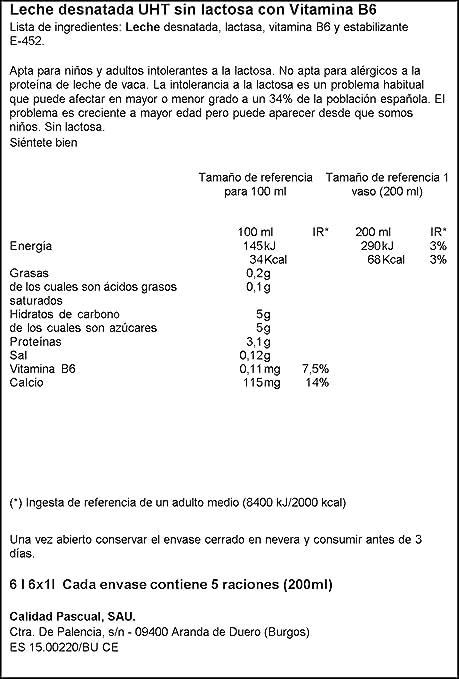 Pascual Leche Sin Lactosa Desnatada - Paquete de 6 x 1000 ml ...
