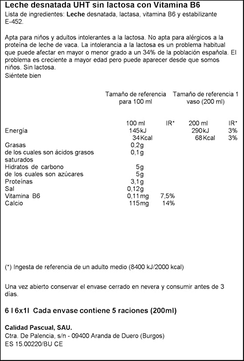 Pascual Leche Sin Lactosa Desnatada - Paquete de 6 x 1000 ml - Total: 6000 ml: Amazon.es: Amazon Pantry