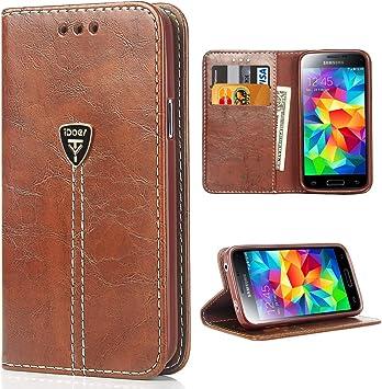 iDoer Galaxy S5 Funda con tapa libro piel y TPU cartera cover Funda de cuero carcasa bumper protectores S5 estuches soporte flip Case para Samsung Galaxy S5 / Neo café: Amazon.es: Electrónica