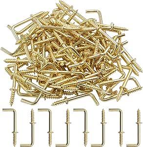 20 Pack IDEALSV 7//8 Antique Brass 7//8 Inch 1 Shape Screw Hooks L Shape Hooks Vintage Bronze 7 Shape Right Angle Medal Hooks