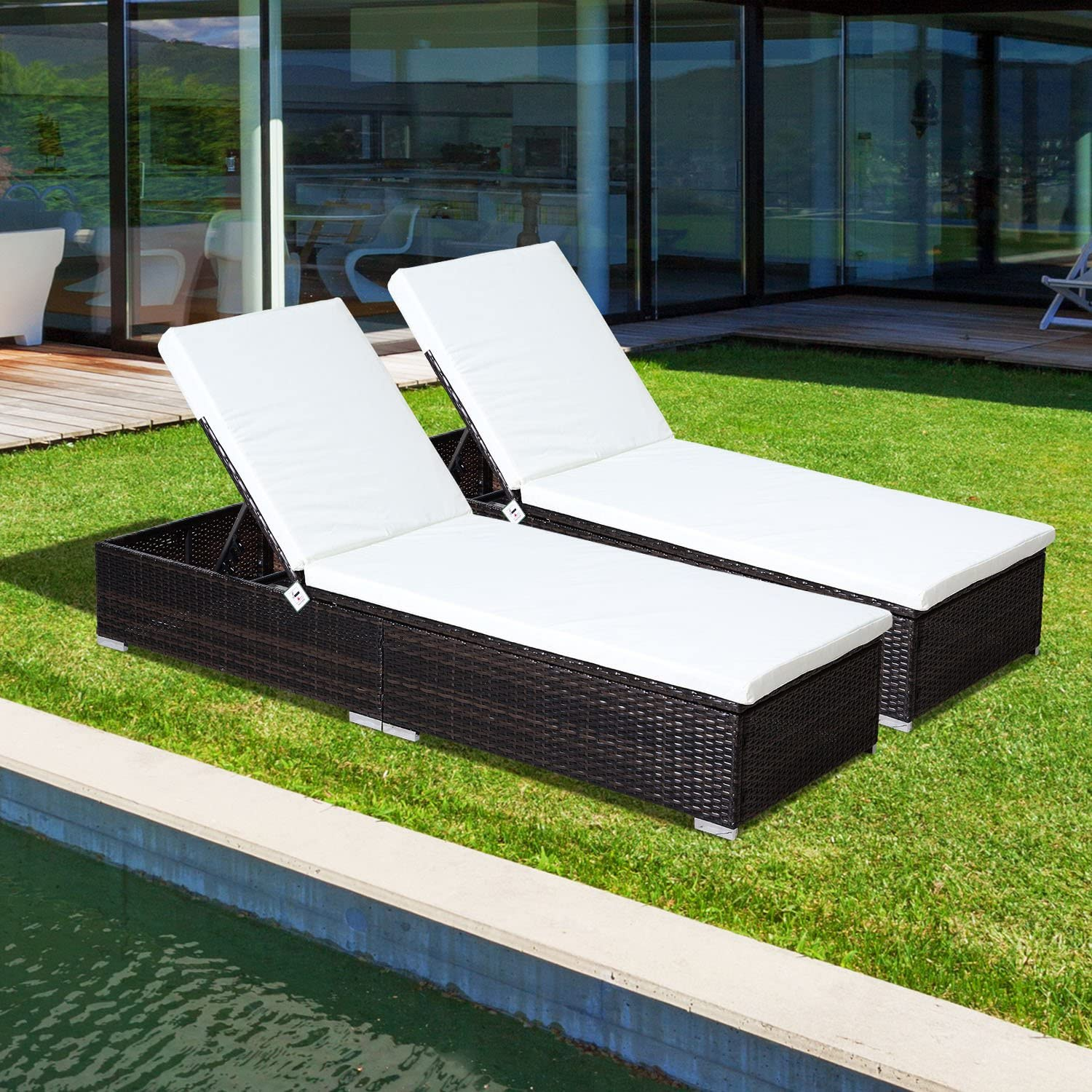 Rattan Garden Furniture 11 pcs Set Sun Loungers Recliners Bed