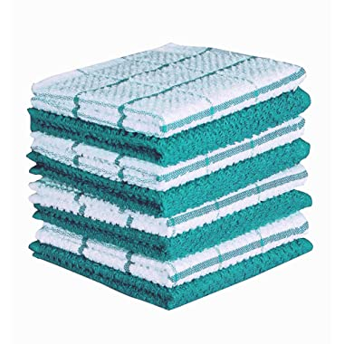 CASA DECORS Terry Kitchen Dishcloth Set of 8 (12 x 12 Inches), Teal, 100% Cotton, Highly Absorbent, Machine Washable