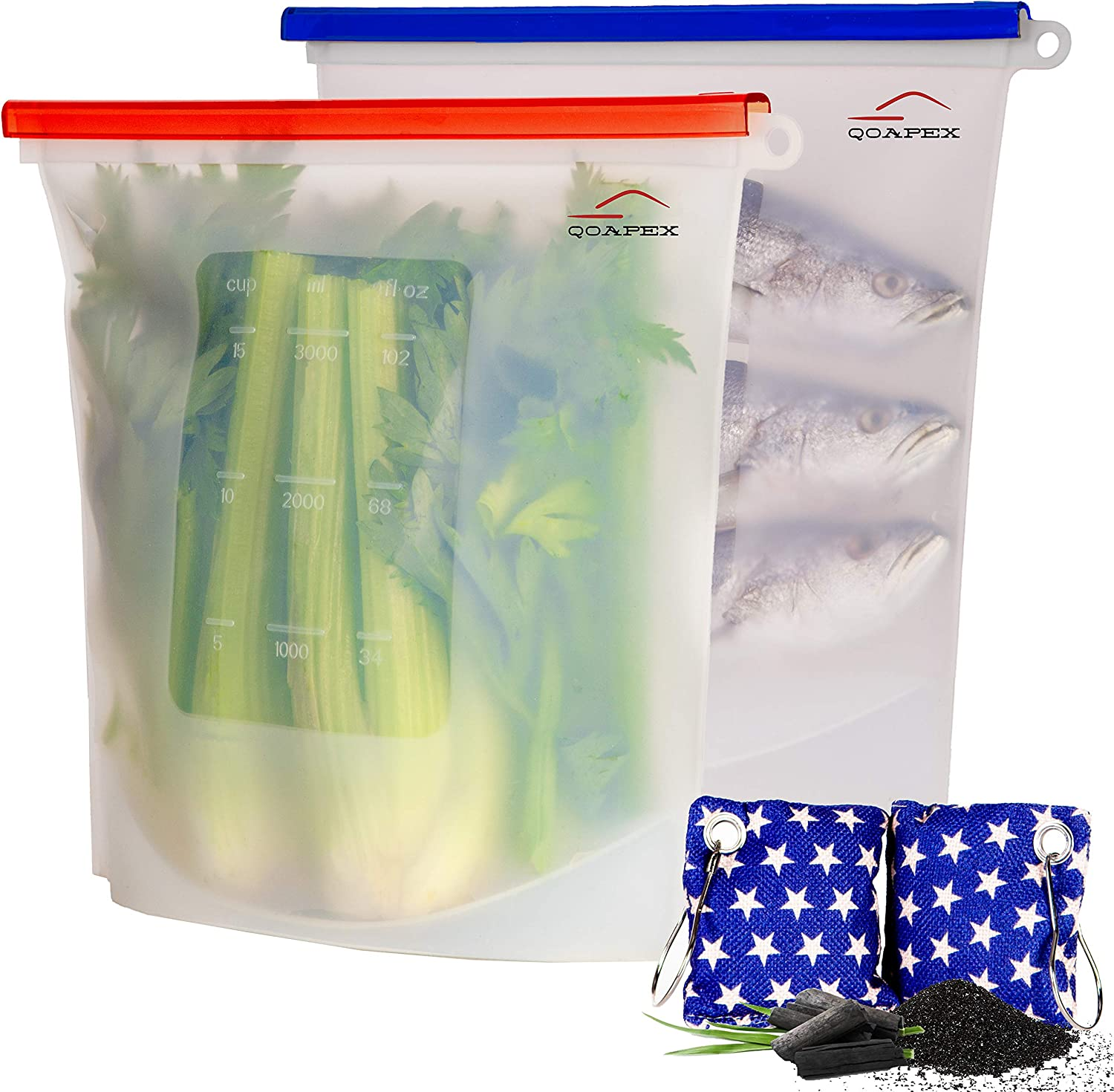 Qoapex Gallon Size, Reusable Silicone Food Storage Bags Silicone Bags Reusable Silicone Food Bag for Preservation of Lunch Snack Fruit, Silicone Food Bags Reusable storage Bags Freezer (2 Extra large)