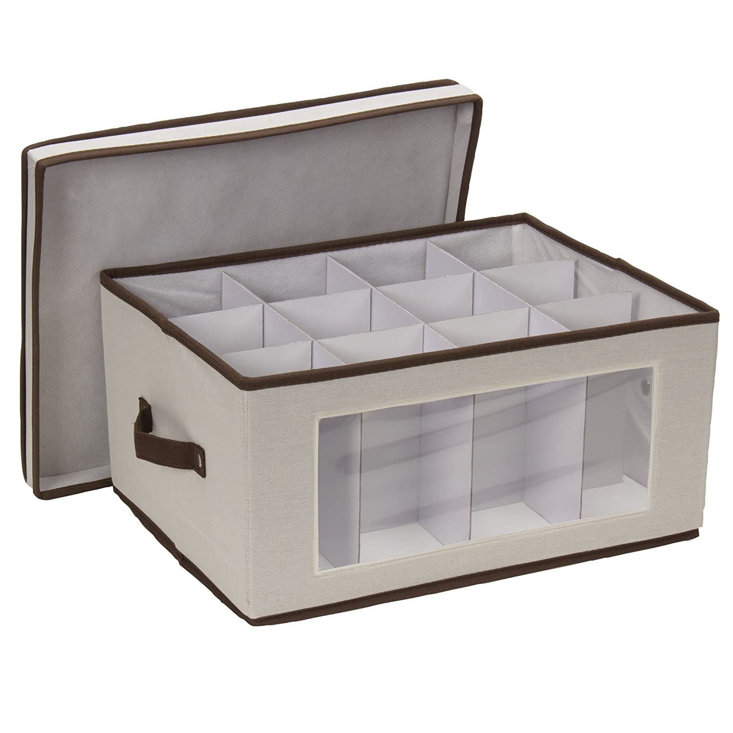 wine glass storage box. Amazon.com: Household Essentials 542 Vision Storage Box With Lid And Handles | Wine Balloon-Style Glasses Natural Canvas Brown Trim: Home \u0026 Glass R