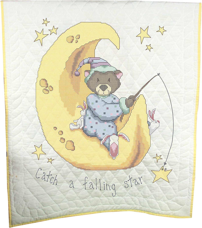 Sleeping Animals Design Fairway Needlecraft 92615 Baby Quilt 36 by 50-Inch White