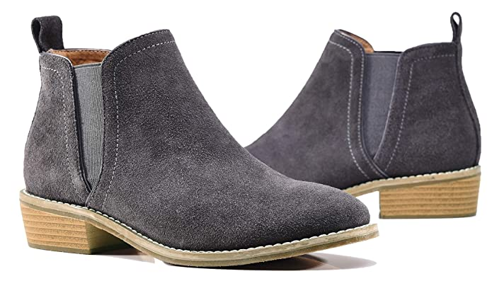 U-lite Womens Fall Winter Classic Comfortable Suede Leather Chelsea Ankle Boots Women Booties (9, Gray)