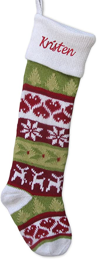 Amazon Com Knitted Christmas Stockings White Cuff Dear Hearts Fair Isle Pattern 28 Personalized Embroidered With A Name Home Kitchen