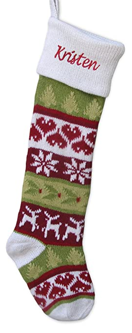 Amazon.com: Knitted Christmas Stockings White Cuff Dear Hearts ...
