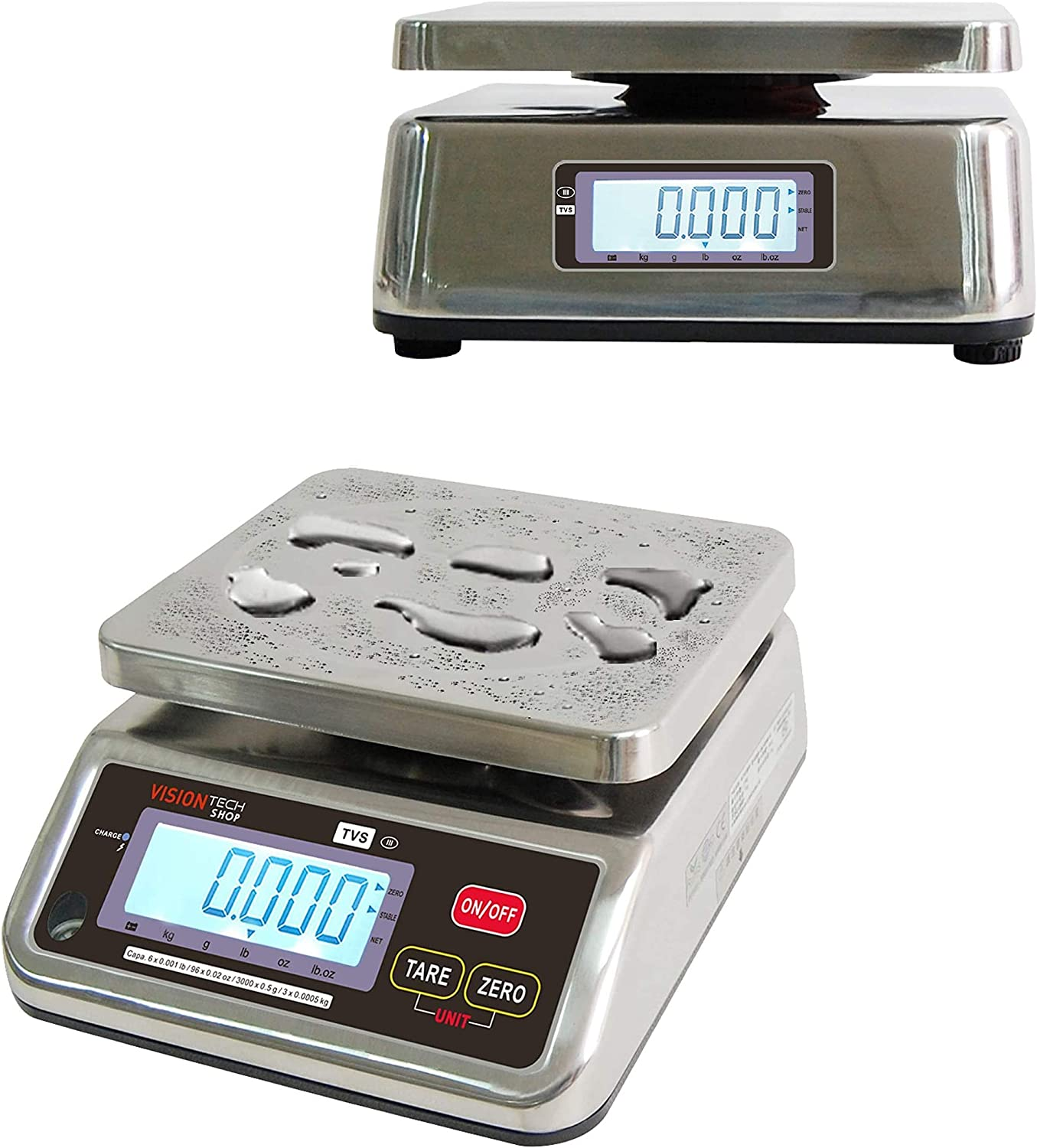VisionTechShop TVS Portion control Stainless steel Washdown Scale, Lb/Oz/Kg/g Switchable, Low Profile Design, 6lb Capacity, 0.001lb Readability, Dual Display, NTEP Legal for Trade