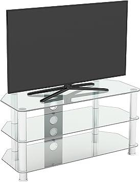 King Mueble TV Cristal Transprente,3 Estantes, Televisores Curvos LCD LED OLED, Ancho 100 cm: Amazon.es: Electrónica