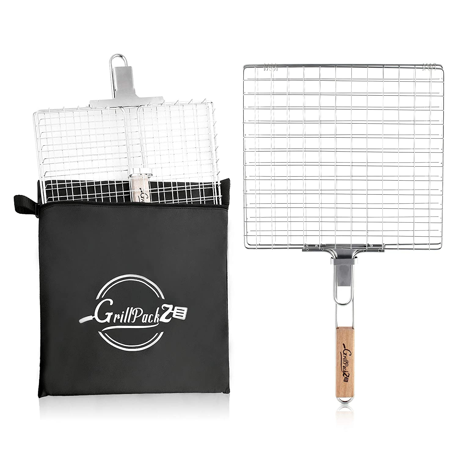 GrillPackz BBQ Grill Basket – Portable Stainless-Steel BBQ Grilling Basket – Non-Stick Foldable Grill Basket for Barbequing Meat, Fish, Vegetables, More – 13 x 12 Inches with Foldable Wooden Handle