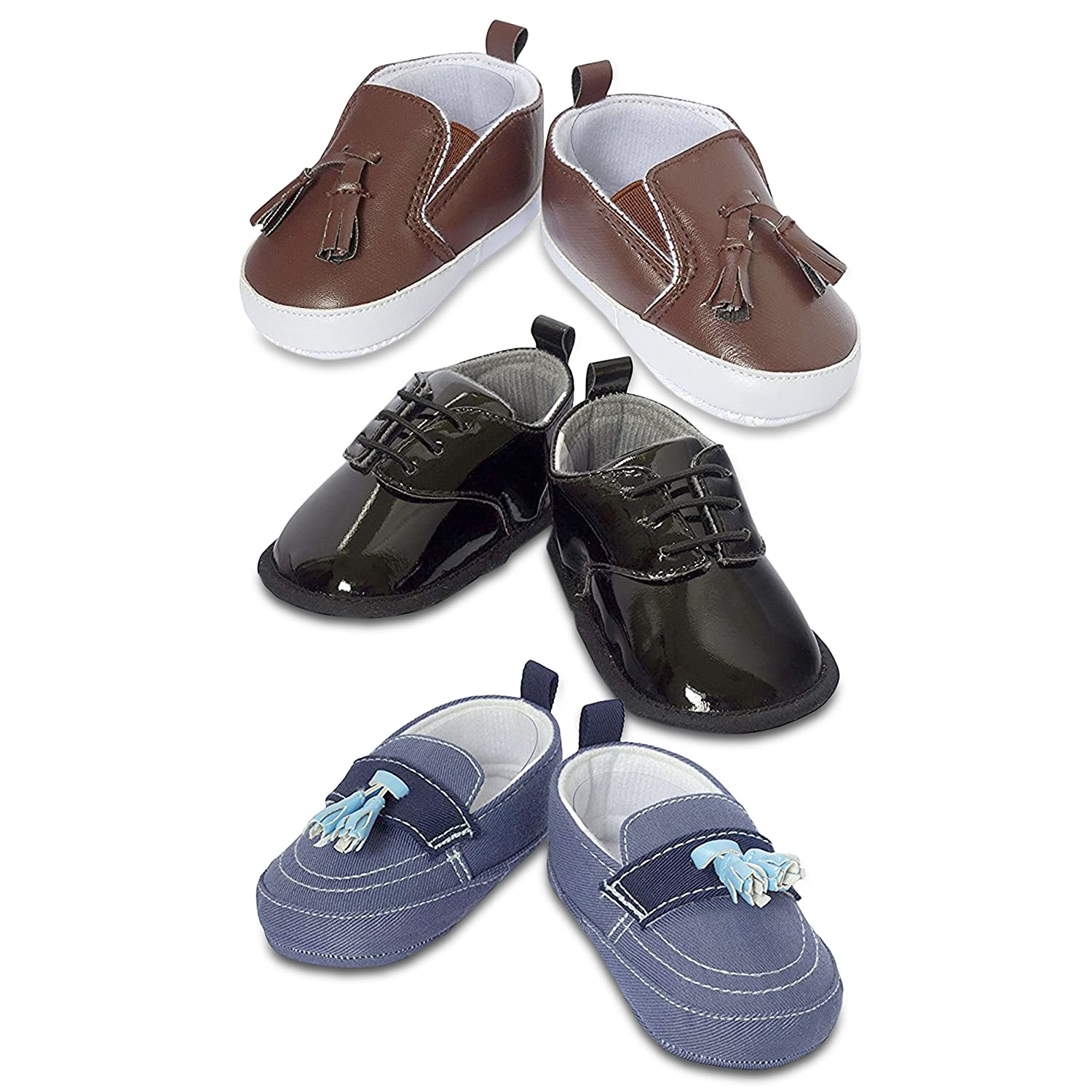 3 Pack Baby Boy Shoes- Baby Boy Dress Shoes- Soft Sole Crib Shoes- Baby Gift- for Newborn & Infant
