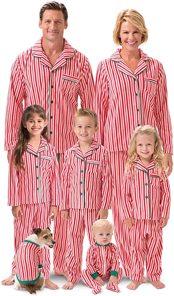 candy stripe family pajama set