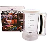 Pancake Batter Dispenser - Great Gift Ideas- Easy Pour Kitchen Batter Dispenser with Measuring Label, Perfect Food Gadgets for Pancake, Cupcakes, Waffles, Cakes, Muffins, Crepes, Donuts, Baked Goods