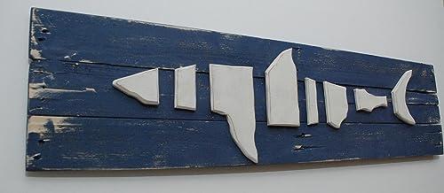 Nautical Wood on Wood Shark in the ocean Wood Wall Art