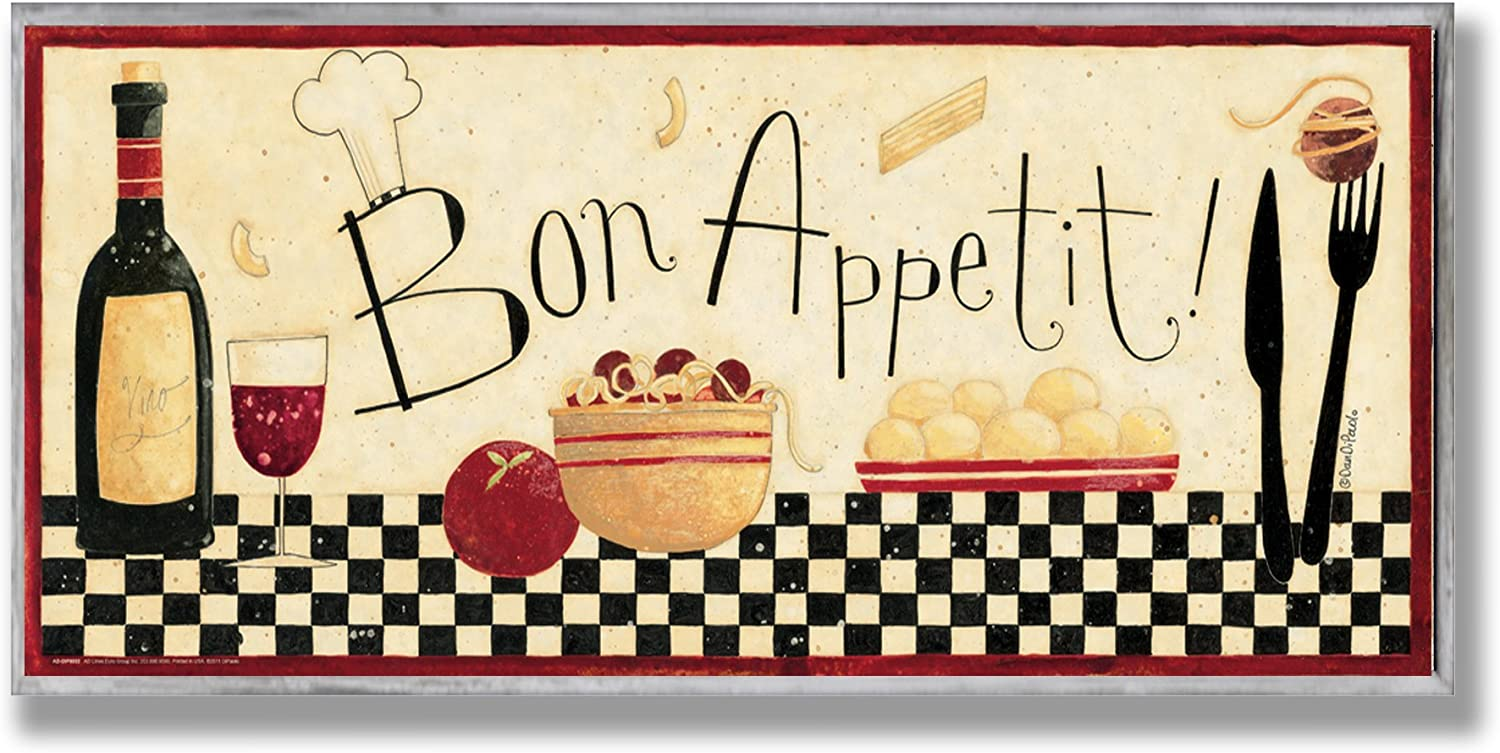 Stupell Home Décor Bon Appetit Kitchen Wall Plaque, 7 x 0.5 x 17, Proudly Made in USA
