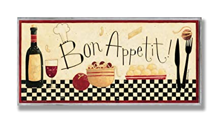 Stupell Home Décor Bon Appetit Kitchen Wall Plaque, 7 X 0.5 X 17, Proudly