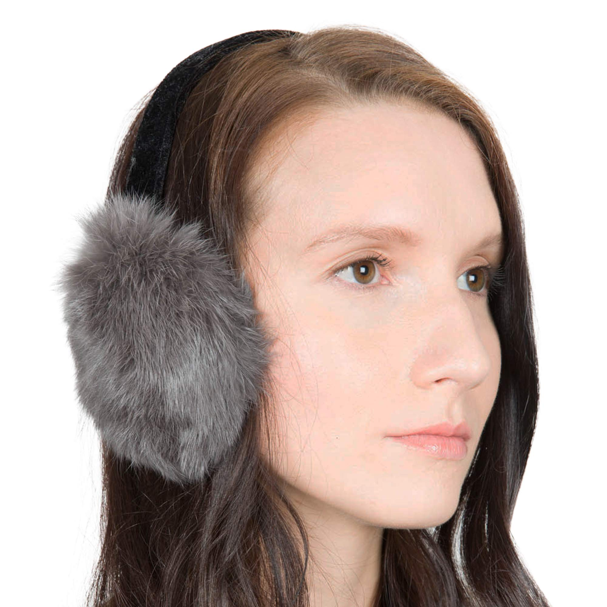 OBURLA Fur Earmuffs | Luxurious Real Fur Over Ear Warmers with Headband (Rabbit Fur, Gray)