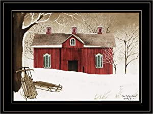 Trendy Decor4U New Fallen Snow by Billy Jacobs Printed Wall Art, 19 Inch x 15 Inch, Black Frame