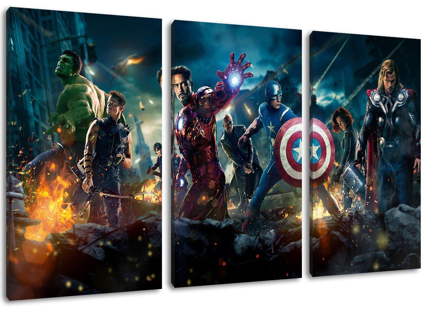 Amazon.de: Marvel Helden 3-Teilig auf Leinwand, XXL riesige Bilder ...