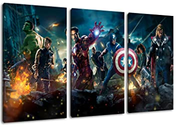 "Hervorragend Marvel heroes painting on canvas, 3-piece (Total Size: 47.2"" x  TM74"
