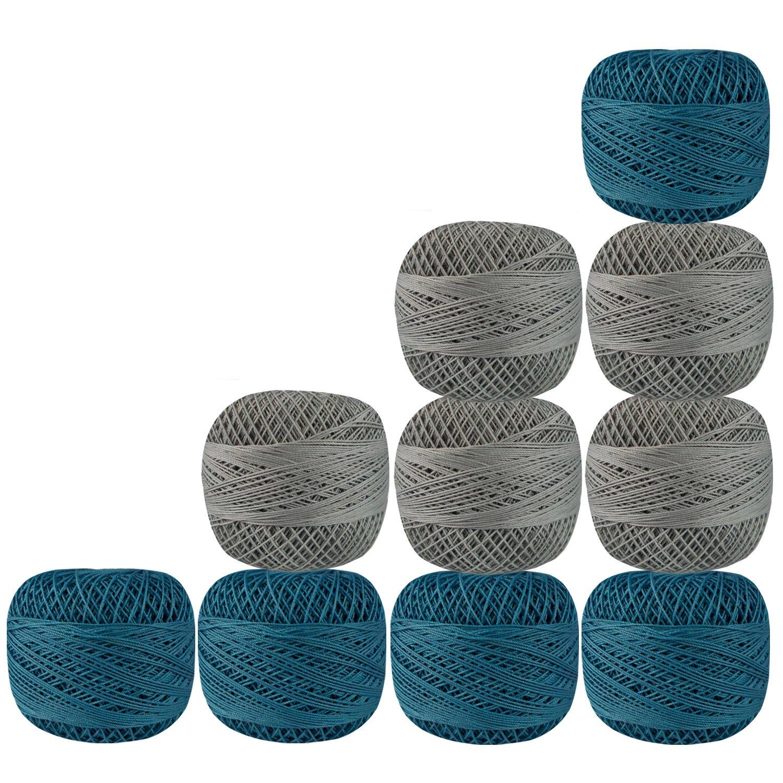Set of 10 Pcs Gray Turquoise Cotton Crochet Thread Cross Stitch Knitting Yarn Tatting Doilies Skeins Lacey Craft