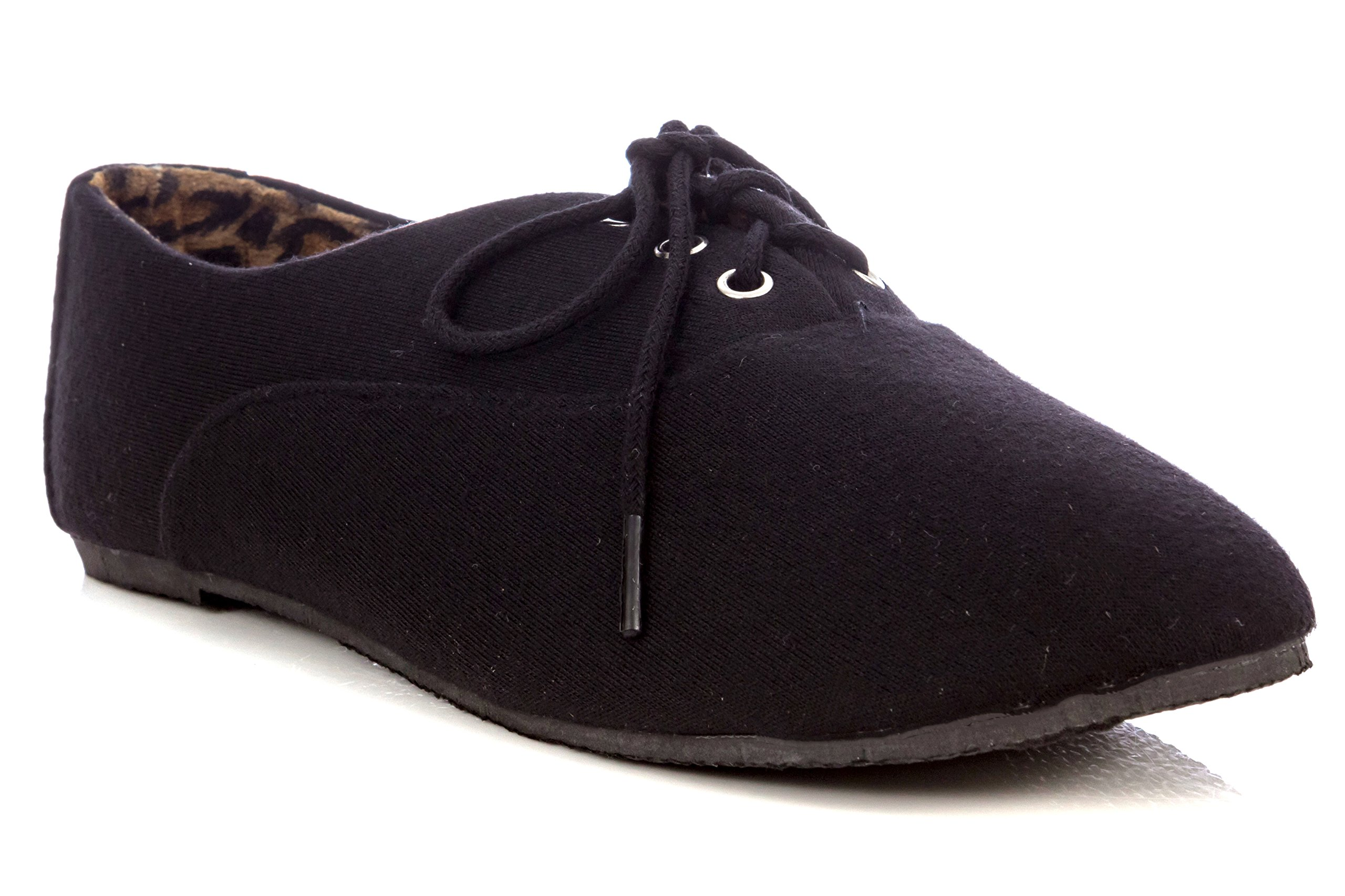 Simply Petals Girl's Lace-Up Oxford Ballet Flat in Black Size: 11