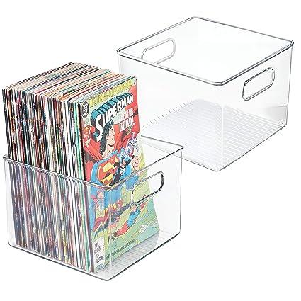 mDesign Juego de 2 cajas organizadoras de plástico cuadradas – Cajas para cómics, revistas,