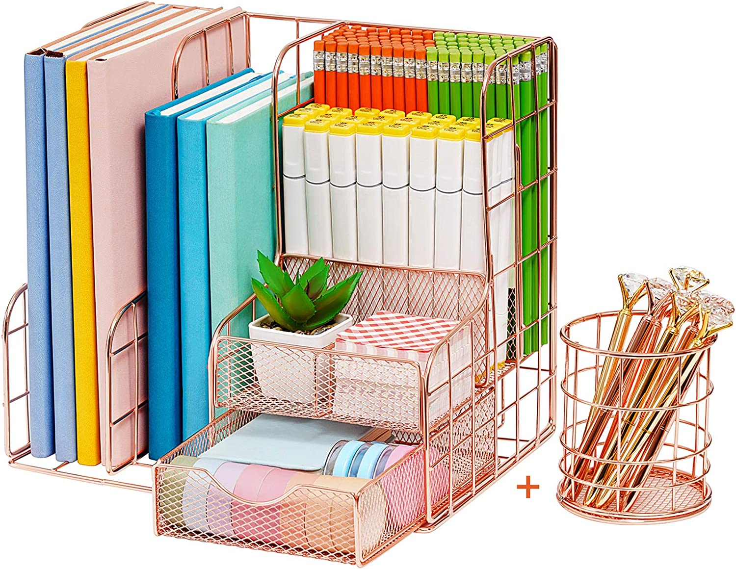 Marbrasse Rose Gold Desk Organizer for Women, Multi-Functional Mesh Desk Organizers and Accessories, Large Capacity Metal Office Supplies and Accessories for Home Office School, 2 Pack (rose gold)…