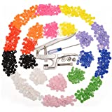 AKORD Kam Snap Pliers T5 and 150 Set Tsnap Poppers Plastic Buttons 10 Colors, Multi-Colour, 15 x 8 x 3 cm