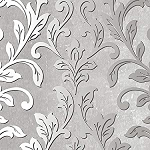 Norwall NWTX34843 Rockford Vinyl Damask Textured Wallpaper, Gray, Black, Grey
