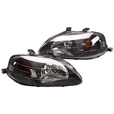 Spec-D Tuning 2LH-CV99JM-RS Civic JDM Black OEM Fit Crystal Head Lights Signal Pair: Automotive