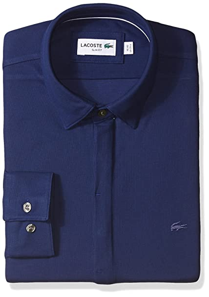 560cb9dc23 Lacoste Men's Long Sleeve Button Down Textured Jersey Slim Fit ...