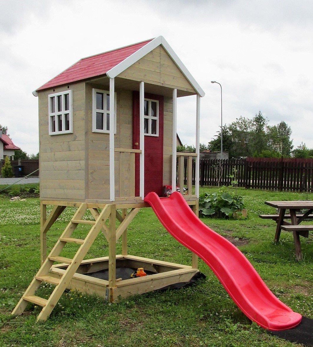 Kinderspielhaus Spielhaus Holz mit Plattform, Treppe, Sandkasten und Rutsche Nordic Adventure House