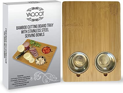 Wooden Chopping Serving Board With Two Stainless Steel Bowls Bamboo Wood Cutting Carving Cheese