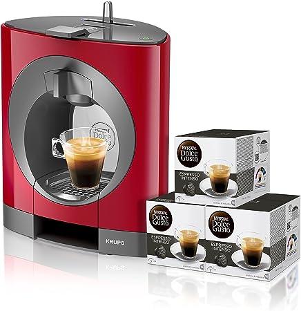 Pack Krups Dolce Gusto Oblo KP1105 - Cafetera de cápsulas, 15 bares de presión, color rojo + 3 packs de café Dolce Gusto Espresso Intenso: Amazon.es: Hogar