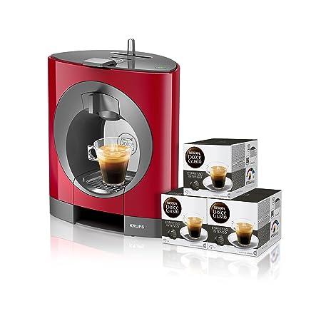 Pack Krups Dolce Gusto Oblo KP1105 - Cafetera de cápsulas, 15 bares de presión, color rojo + 3 packs de café Dolce Gusto Espresso Intenso