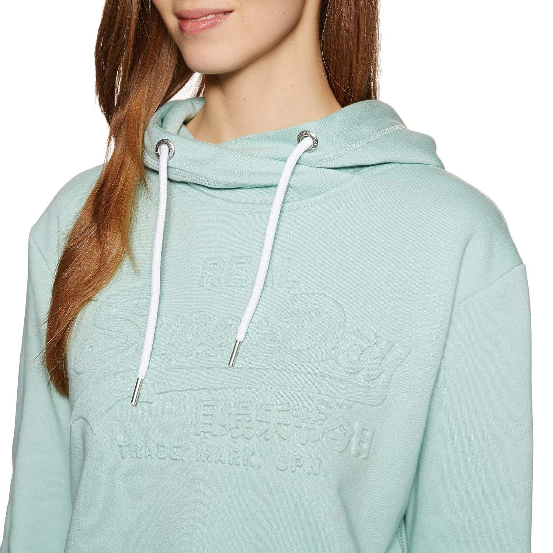 Superdry Damen V Logo Emboss College Crop Hood Kapuzenpullover