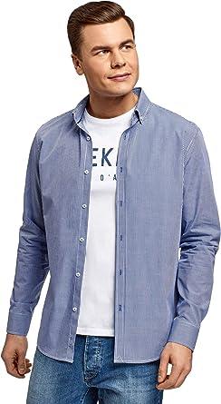 oodji Ultra Hombre Camisa Entallada a Cuadros Pequeños