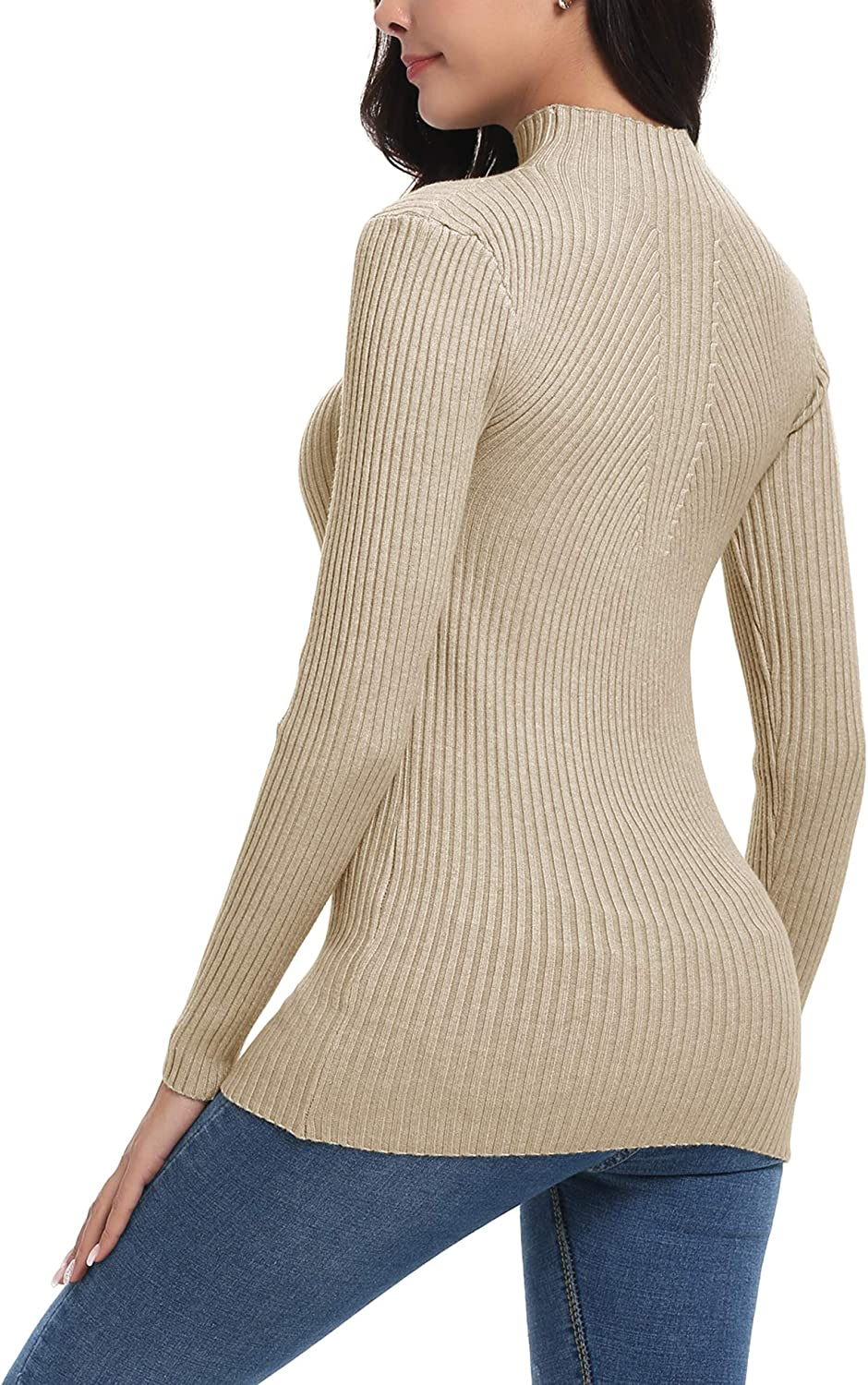 iClosam Women Sweater Turtleneck Knit Pullover Ribbed Mock Neck Sweater