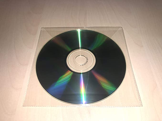 100 Fundas Alta Calidad CD/DVD,Plástico ECOLÓGICO,Transparentes,Lisas,con Solapa,Costuras Resistentes,Fabricadas en PP Polipropileno (Mejor que el ...
