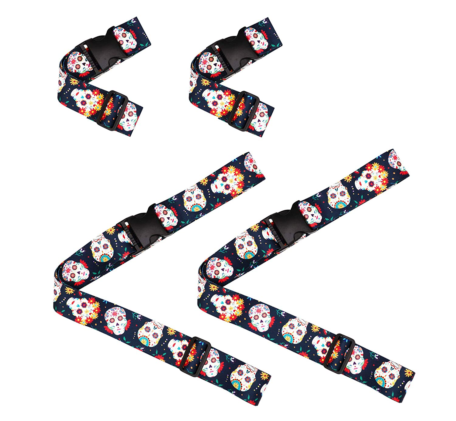 5335d6c16a1e Sugar Skull Day of the Dead Travel Luggage Strap Suitcase Security Belt.  Heavy Duty & Adjustable. Must Have Travel Accessories. TSA Compliant. 2 ...
