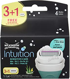Wilkinson Sword Intuition Naturals - Cargador de 4 cuchillas femeninas de cuatro hojas Intuition Naturals Sensitive