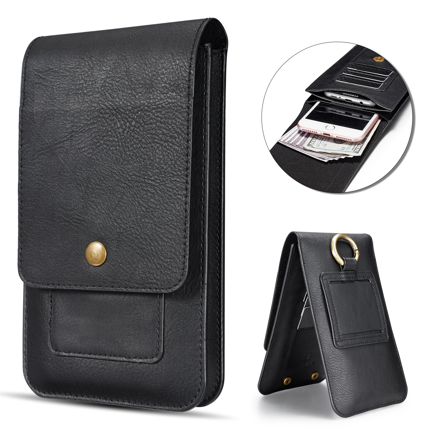 Vandot PU Leather Vertical Men Cellphone Belt Loop Holster Hip Bum Bag Case Belt Waist Bag Mini Travel Messager Pouch Crossbody Pack Purse Wallet with Clip+Keychain for all Phone under 6.5 inch,Black
