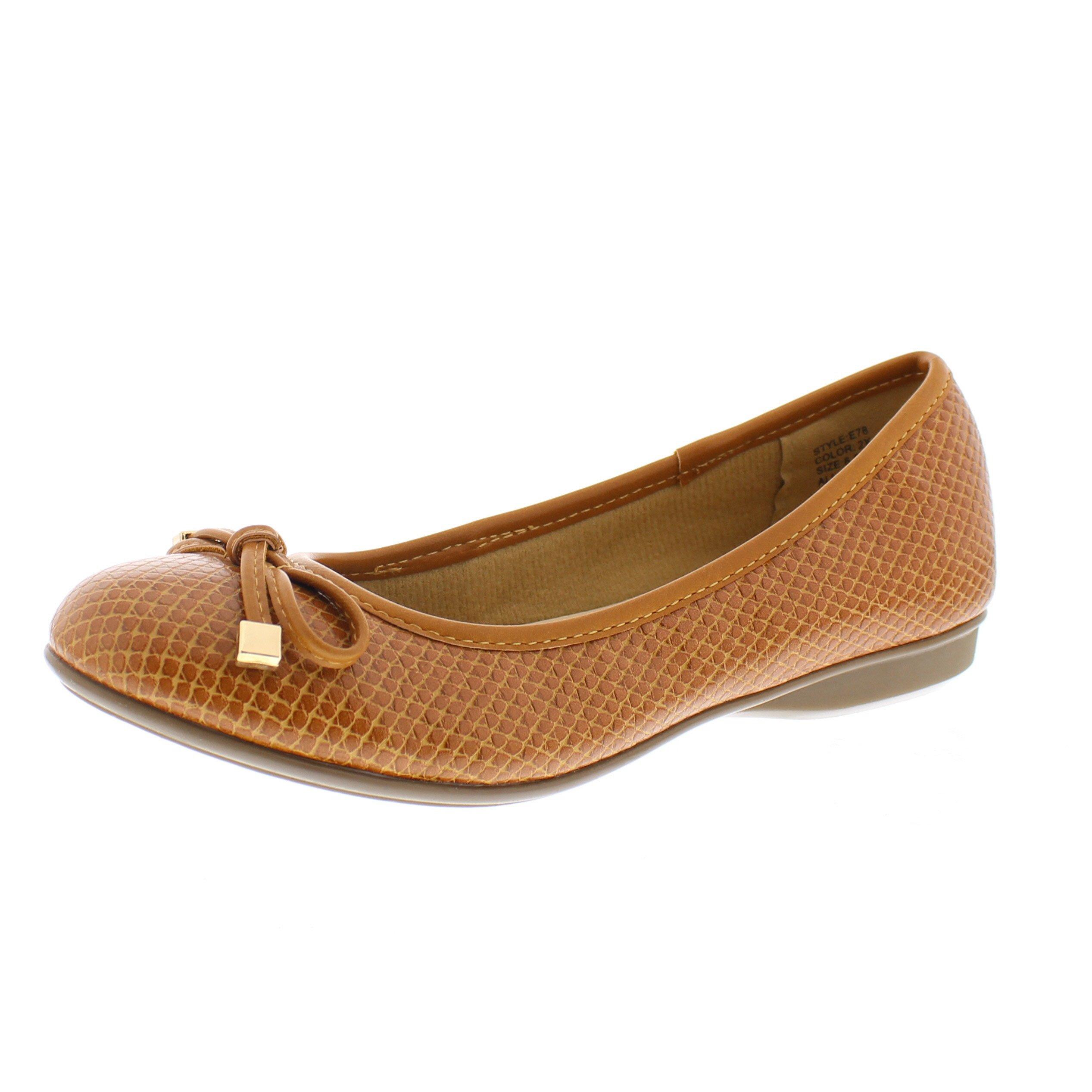 Gold Toe Malorie Womens Comfortable Memory Foam Ballet Flat Shoe,Work Comfort Dress Flats Low Wedge Pump Women Camel 9W US
