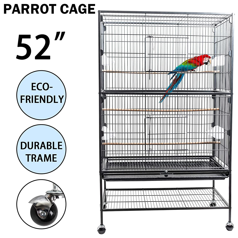 Dawoo Patio Exterior Jaula de pájaros de 52 Pulgadas Negro: Amazon ...