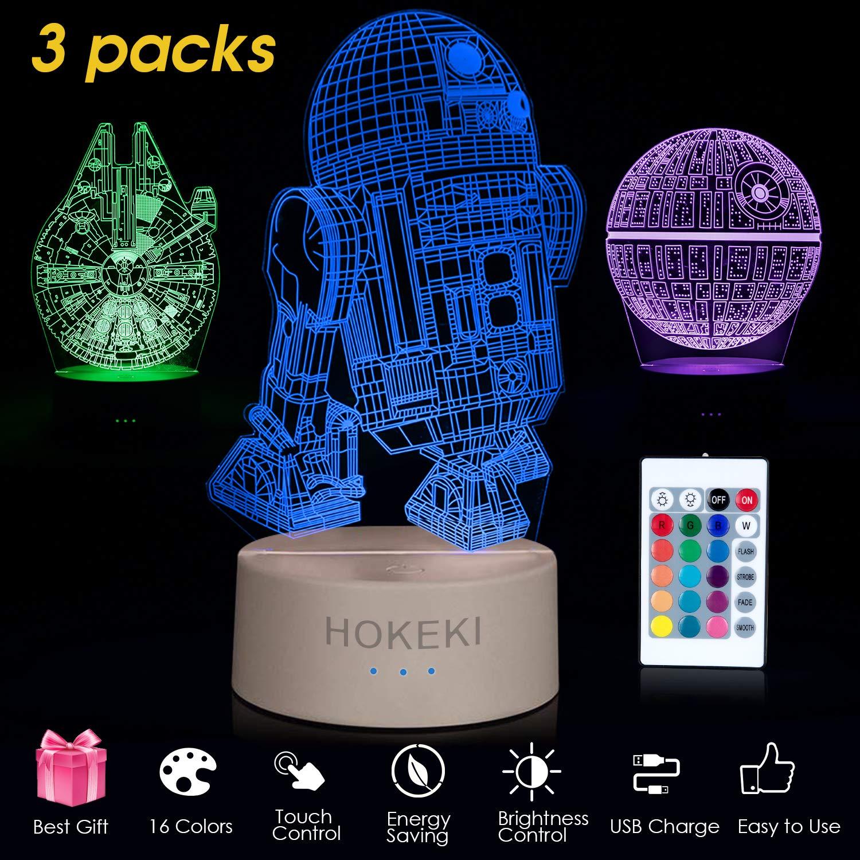 HOKEKI lampe star wars 3d illusion lampe /Étoile de le Mort R2-D2 ventilateurs Star War-3pack avec c/âble de charge pour Home Decor Faucon Millenium,Trois Motifs et 16 Couleurs Changeantes