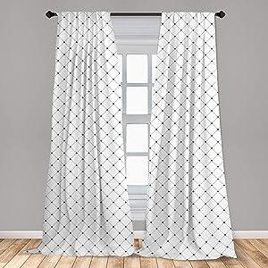 Ambesonne Fleur De Lis 2 Panel Curtain Set, Shabby Form Style Damask Pattern with Vintage Geometric Diamond Lines, Lightweight Window Treatment Living Room Bedroom Decor, 56