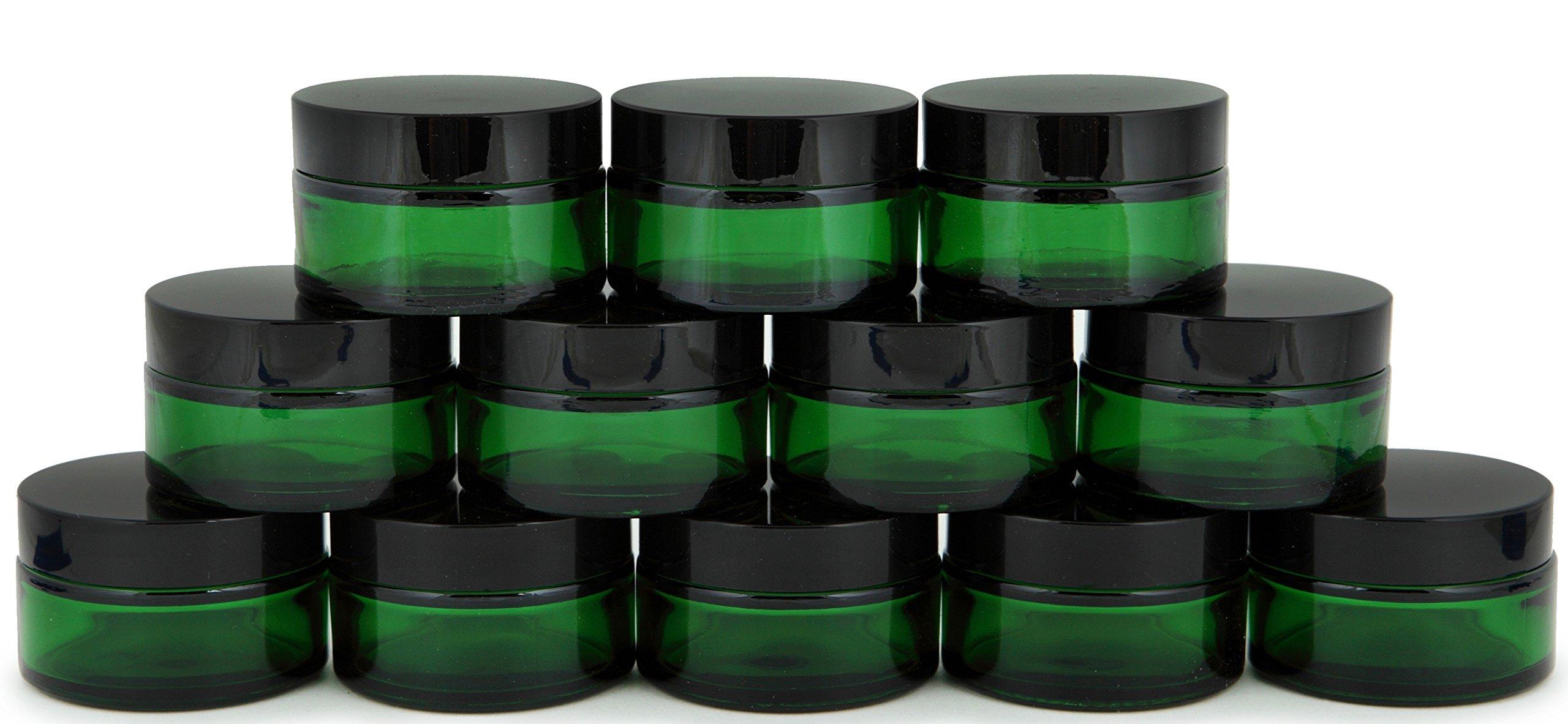 Amazon Com Vivaplex 12 Green 1 Oz Round Glass Jars