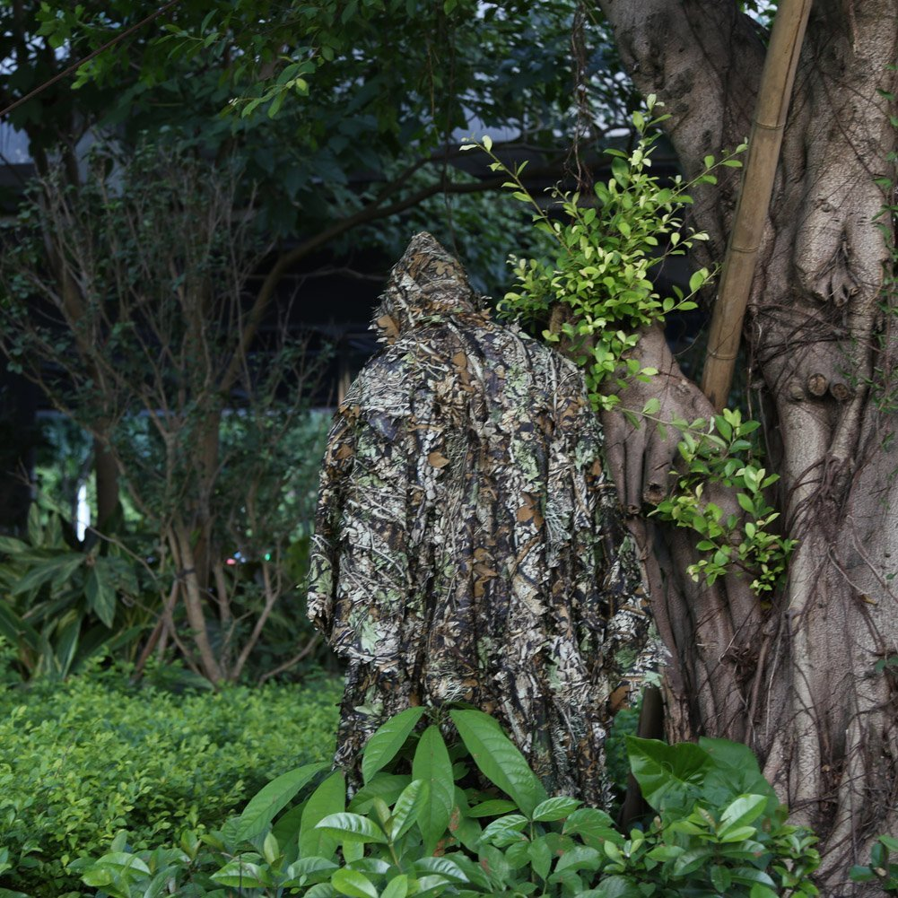 FengLiu Outdoor 3D Leaves Camouflage Poncho Camo Cape Cloak Stealth for Hunting Shooting Monitoring Wildlife Photography and Bird Watching etc by FengLiu store (Image #4)